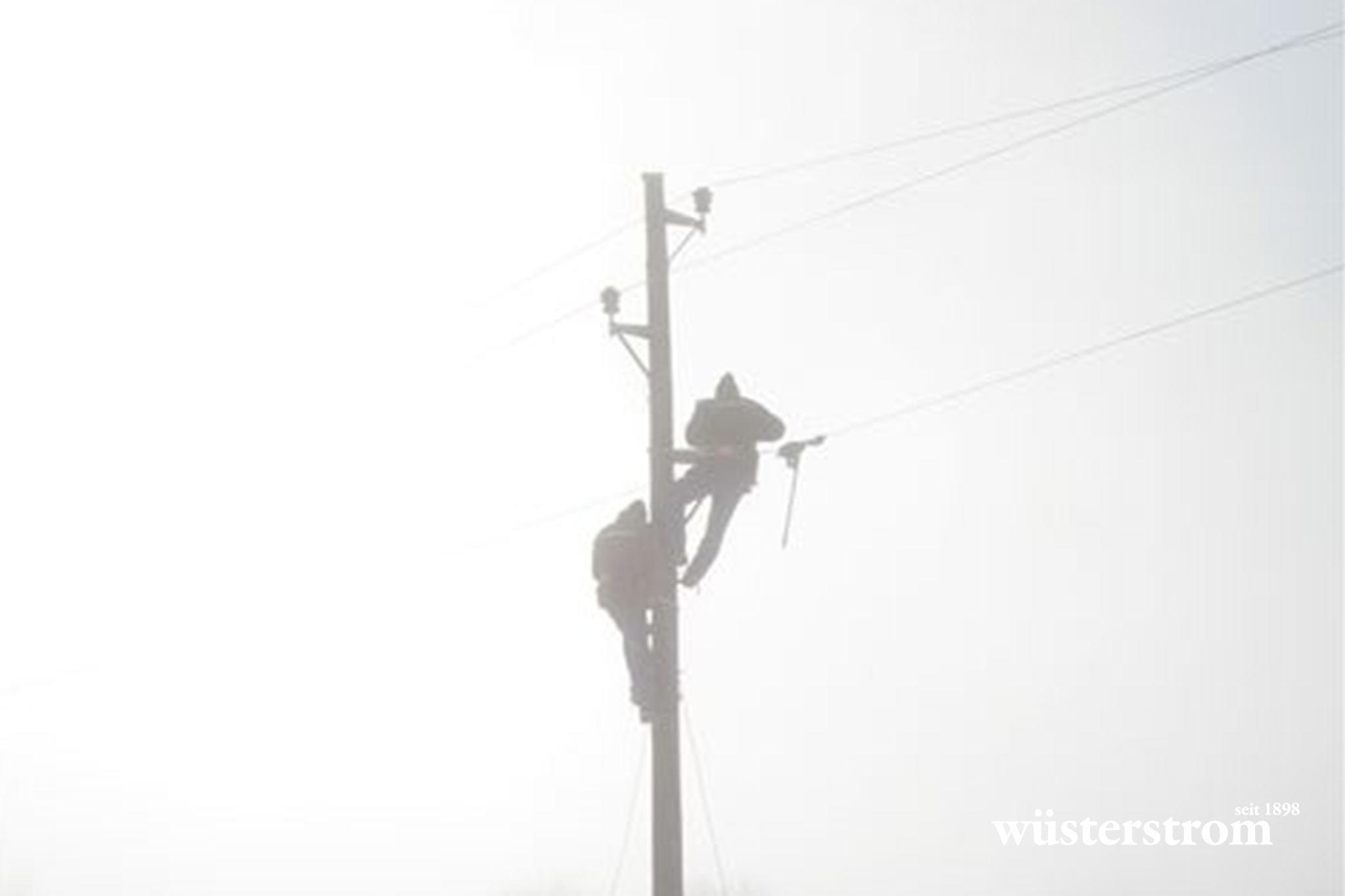 Leitungsbau - Arbeiten am Strommast