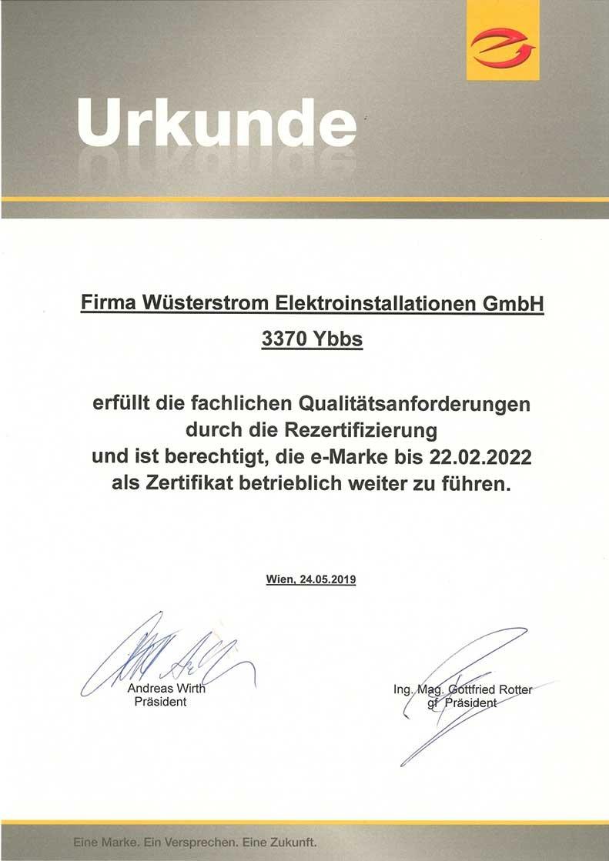 E-Marke Zertifikat für wüsterstrom