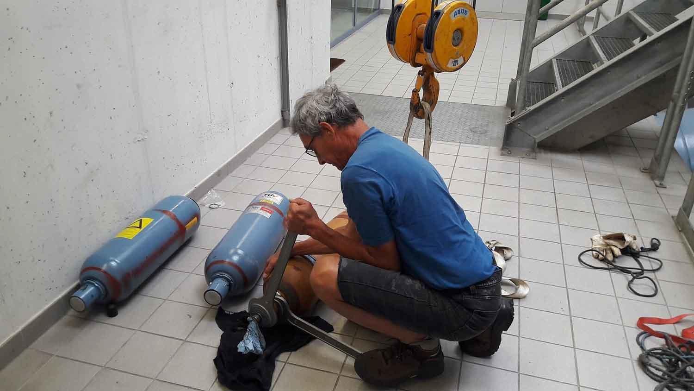 Instandhaltungsarbeiten im Wasserkraftwerk Kemmelbach